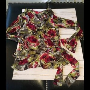 Sunny Leigh Wrap front Blouse Sz M